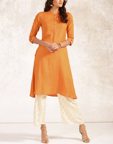 Orange Color Rayon Stitched Kurti - ATKSS17Q2KU35