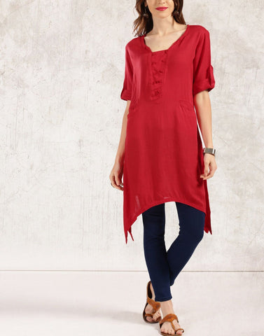 Red Color Rayon Stitched Kurti - ATKSS17Q2KU36
