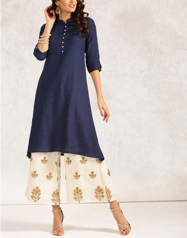 Blue Color Rayon Stitched Kurti - ATKSS17Q2KU37