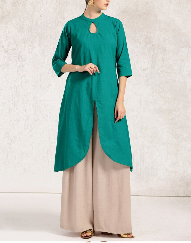 Green Color Cotton Kurti