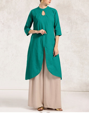 Pine Green Color Cotton Stitched Kurti - ATKSS17Q2KU39