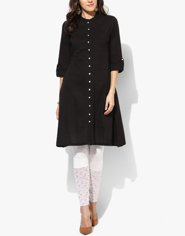 Black Color Cotton Stitched Kurti - ATKSS17Q2KU41