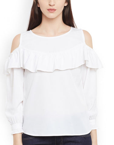 White Color Poly Crepe Top - ATSS17Q2TO103