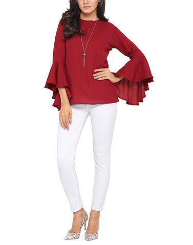 Maroon Color Poly Crepe Top - ATSS17Q2TO107