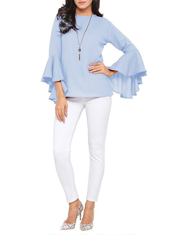 LightBlue Color Poly Crepe Top - ATSS17Q2TO108