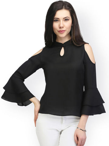 Black Color PolyCrepe Top - ATSS17Q2TO10
