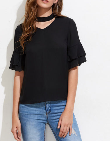 Black Color Poly Crepe Top - ATSS17Q2TO111
