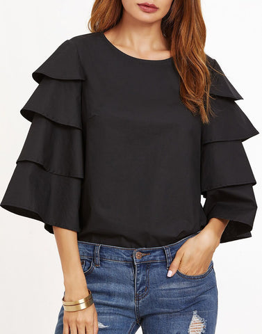 Black Color Poly Crepe Top - ATSS17Q2TO116