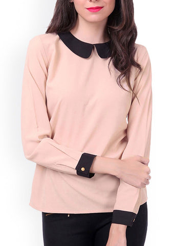 Beige Color PolyCrepe Top - ATSS17Q2TO19