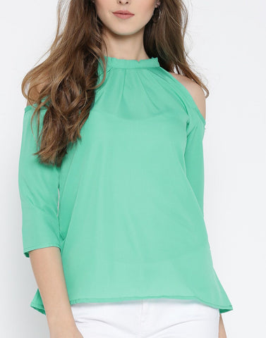 Green Color PolyCrepe Top - ATSS17Q2TO29