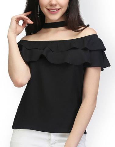 Black Color PolyCrepe Top - ATSS17Q2TO35
