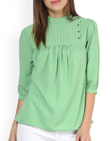 Green Color PolyCrepe Top - ATSS17Q2TO37