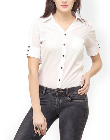 White Color PolyCrepe Top - ATSS17Q2TO49