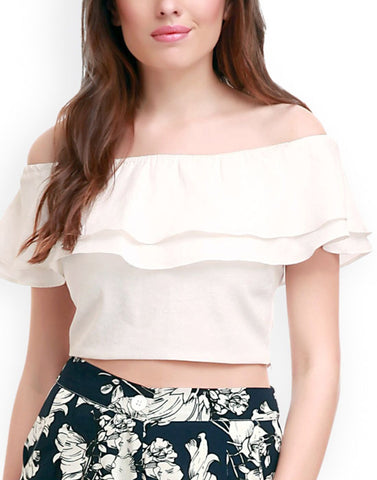 White Color PolyCrepe Top - ATSS17Q2TO58