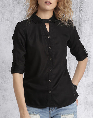 Black Color Rayon Top - ATSS17Q2TO64