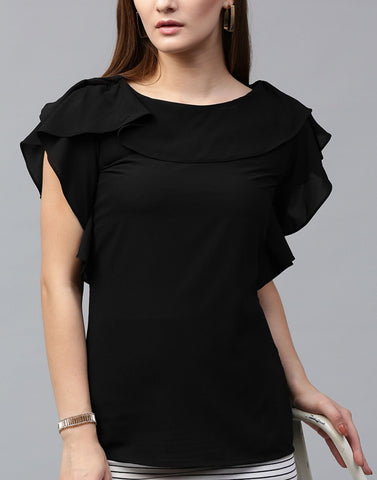 Black Color Poly Crepe Top - ATSS17Q2TO69