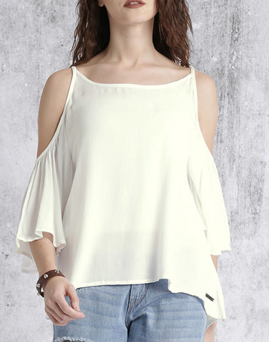 White Color Poly Crepe Top - ATSS17Q2TO77