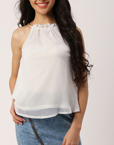 White Color Poly Georgette Top - ATSS17Q2TO79