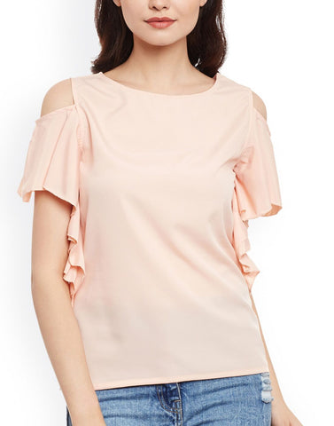 Beige Color Poly Crepe Top - ATSS17Q2TO80