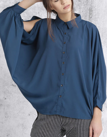 Blue Color Poly Crepe Top - ATSS17Q2TO86