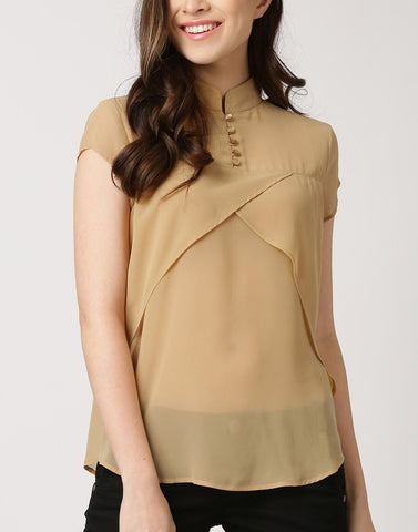 Beige Color Poly Georgette Top - ATSS17Q2TO88