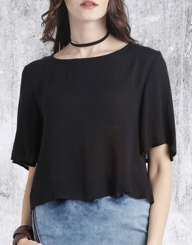 Black Color Poly Crepe Top - ATSS17Q2TO90