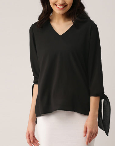 Black Color Poly Crepe Top - ATSS17Q2TO98