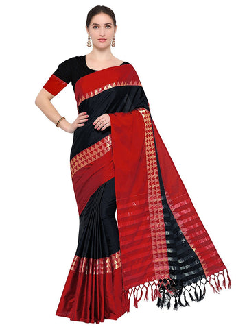 Black and Red Color Cotton Silk Saree  - AURA-T-1-BLACK-RED