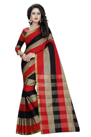 Multi Color Poly Cotton Saree - AURACHECKS