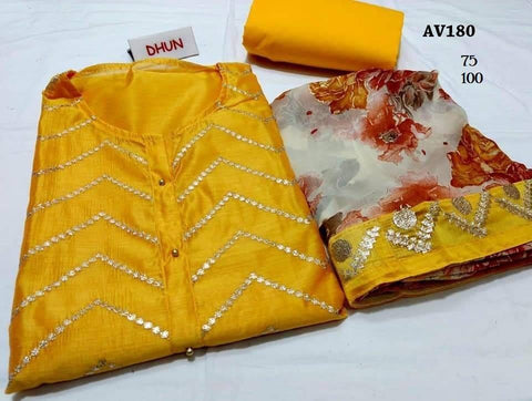 Mustard Color Chanderi Cotton Embroidered Unstitched Salwar - AV180
