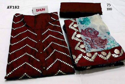 Dark Maroon Color Chanderi Cotton Embroidered Unstitched Salwar - AV182