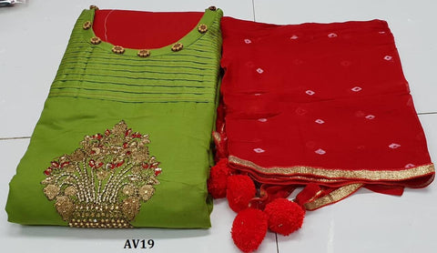 Green Color Chanderi Cotton Embroidered Unstitched Salwar - AV19