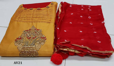 Mustard Color Chanderi Cotton Embroidered Unstitched Salwar - AV21