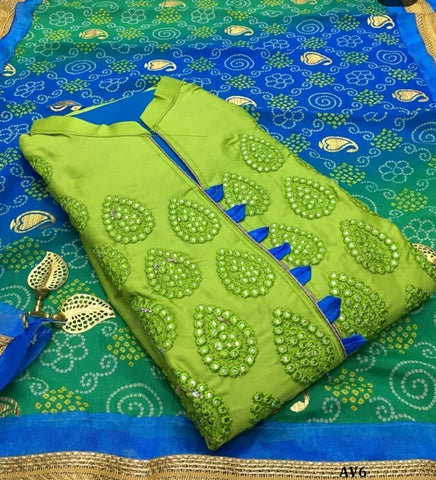 Olive Green Color Chanderi Cotton Embroidered Unstitched Salwar - AV6