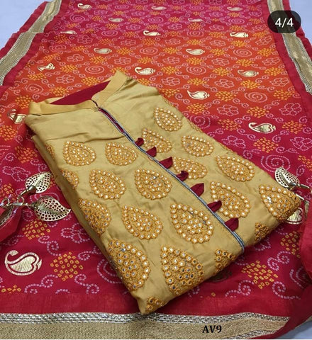 Gold Color Chanderi Cotton Embroidered Unstitched Salwar - AV9