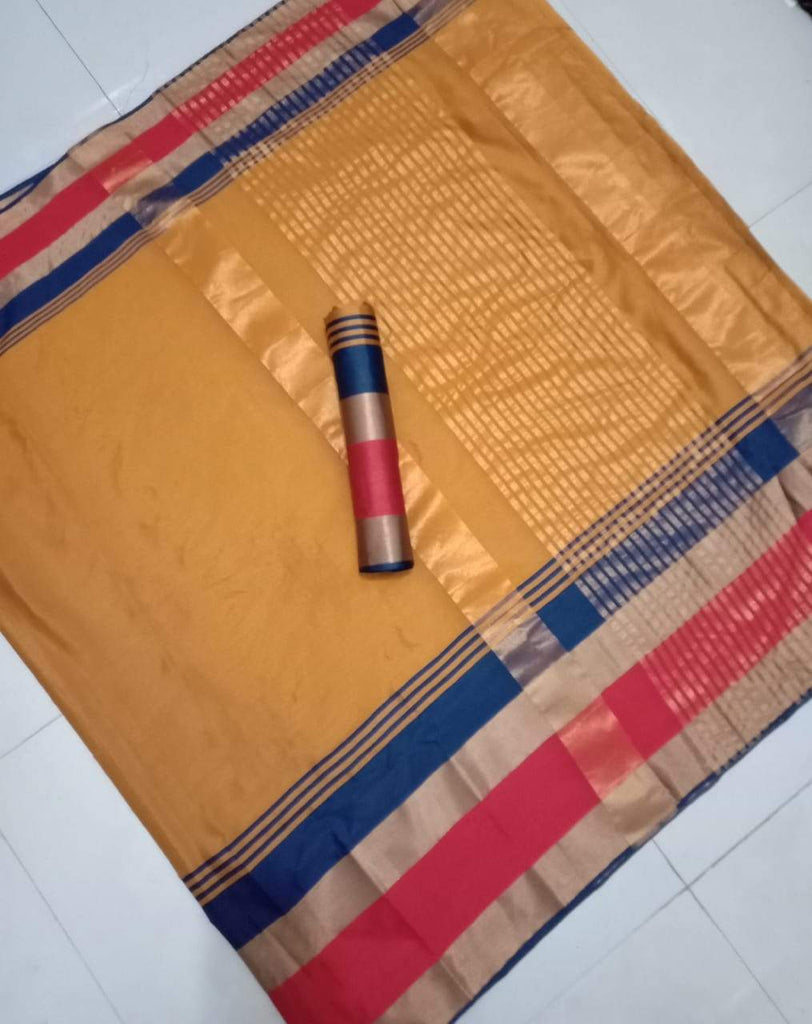 Buy Yellow Color Pure Soft Cotton Zari Silk