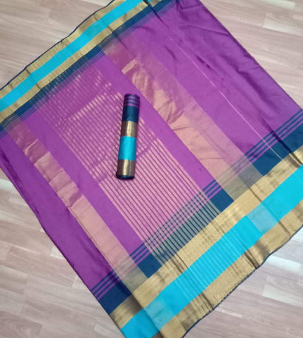 Purple Color Pure Soft Cotton Zari Silk - AVANISAREE-05