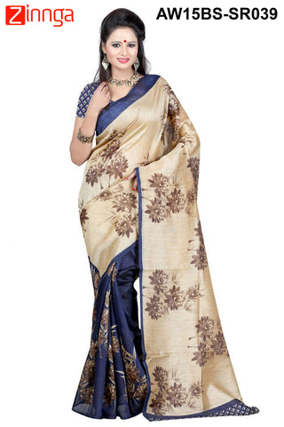 Beige and Blue Color Bhagalpuri Sarees - NVN01