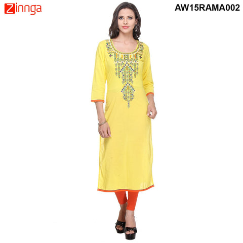 Yellow Color Cambric Stitched Kurti - AW15RAMA002