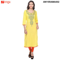 Yellow Color Cambric Stitched Kurti