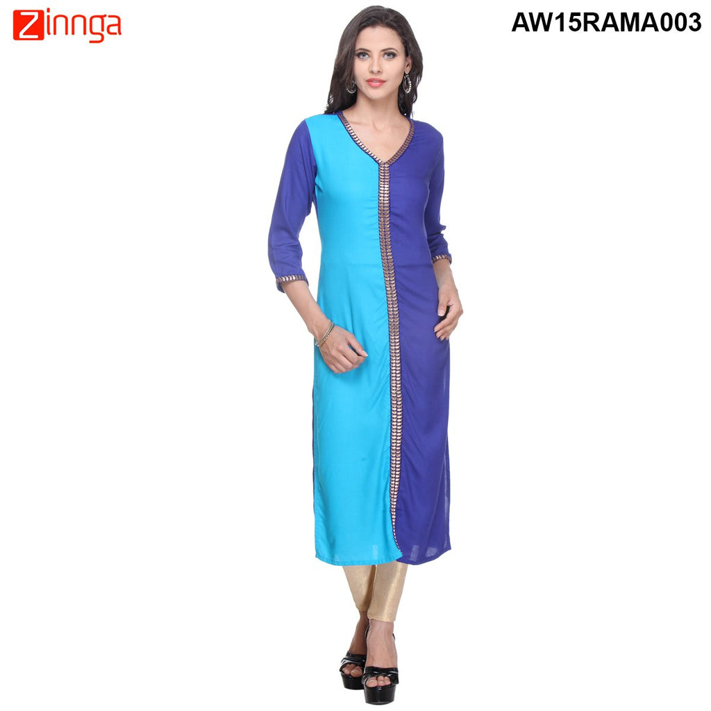Navy Blue and Sky Blue Color rayon Stitched Kurti