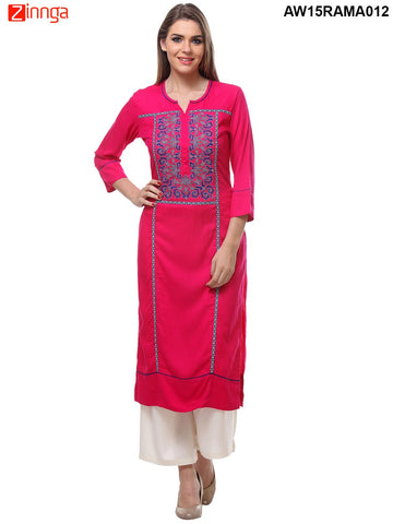 Fuschia Color Rayon Stitched Kurti - AW15RAMA012