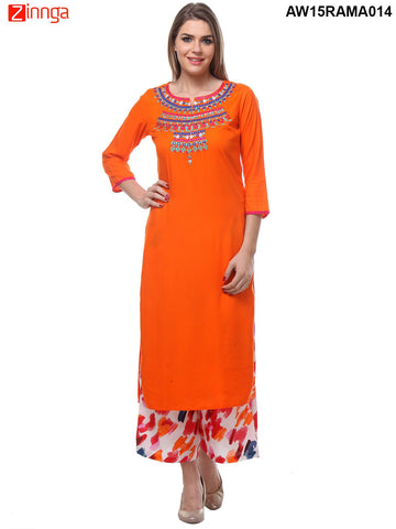 Orange Color Rayon Stitched Kurti - AW15RAMA014