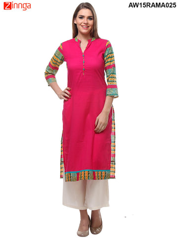 Fuschia Color Cotton Stitched Kurti - AW15RAMA025