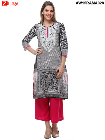 Black Color Cambric Cotton Stitched Kurti - AW15RAMA028