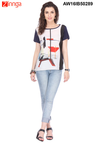 Off White And Navy Blue Color Chiffon Women's Top - AW16IB50289