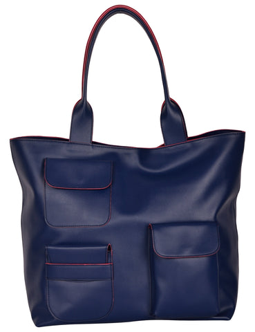 Dark Blue Color PU Women Hand Bag - AWBT1DBE