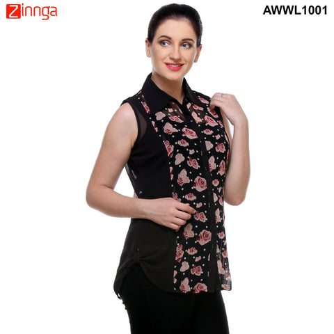 Black Color Georgette Top - AWWL1001-RIGHT