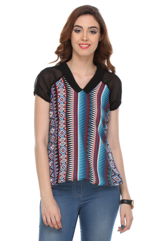 Black Color Cotton Women's Top - AWWL1004