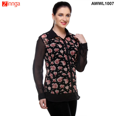 Black with Pink Georgette Top - AWWL1007-RIGHT